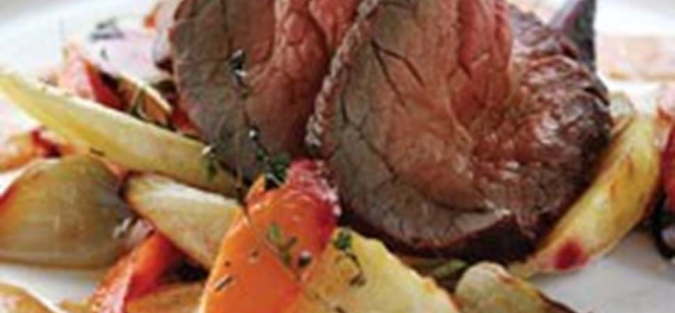 Roastbeef med rodfrugter & pebercreme